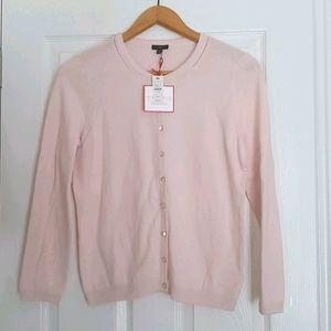 NWT Talbots light pink button cardigan Petite Med